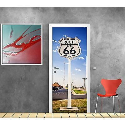 stickers porte trompe l oeil d co route 66 r f 800 dimensions 83x204cm achat vente. Black Bedroom Furniture Sets. Home Design Ideas
