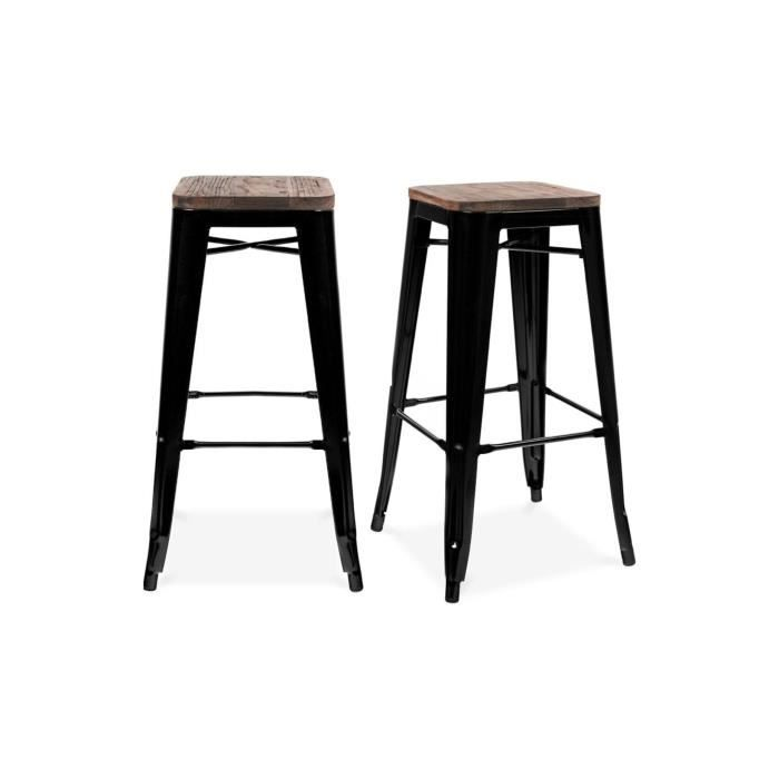 tabouret de bar design industriel harlem lot de 2 noir achat vente tabouret de bar cdiscount. Black Bedroom Furniture Sets. Home Design Ideas