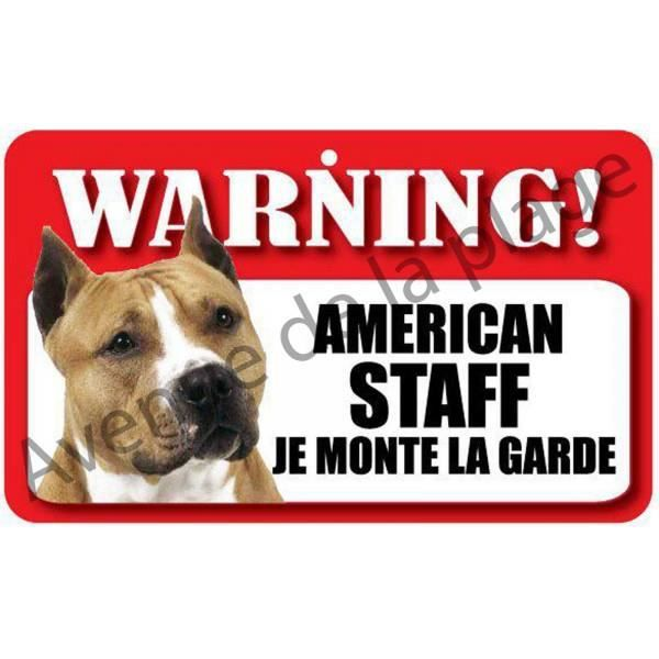 plaque attention au chien american staff achat vente plaque de porte cdiscount. Black Bedroom Furniture Sets. Home Design Ideas