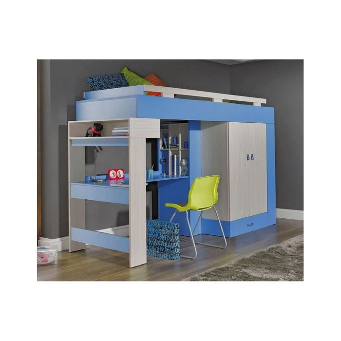 lit combin bureau enfant libellule bleu achat vente lit combine lit combin bureau. Black Bedroom Furniture Sets. Home Design Ideas