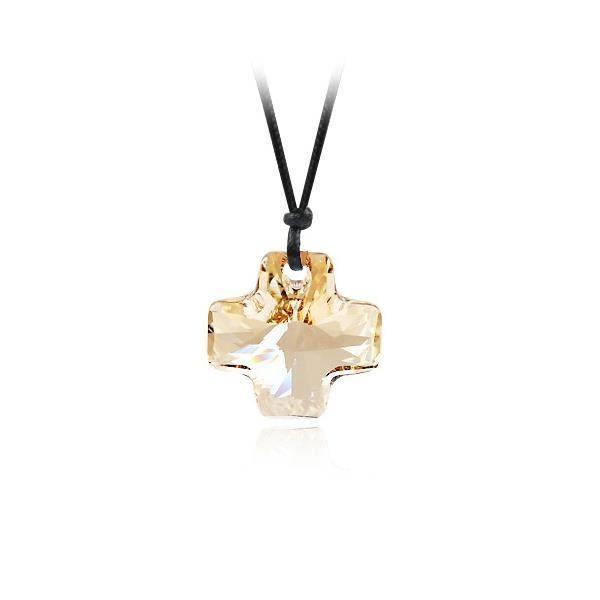SAUTOIR ET COLLIER Collier Croix en Cristal Doré de Swarovski Element