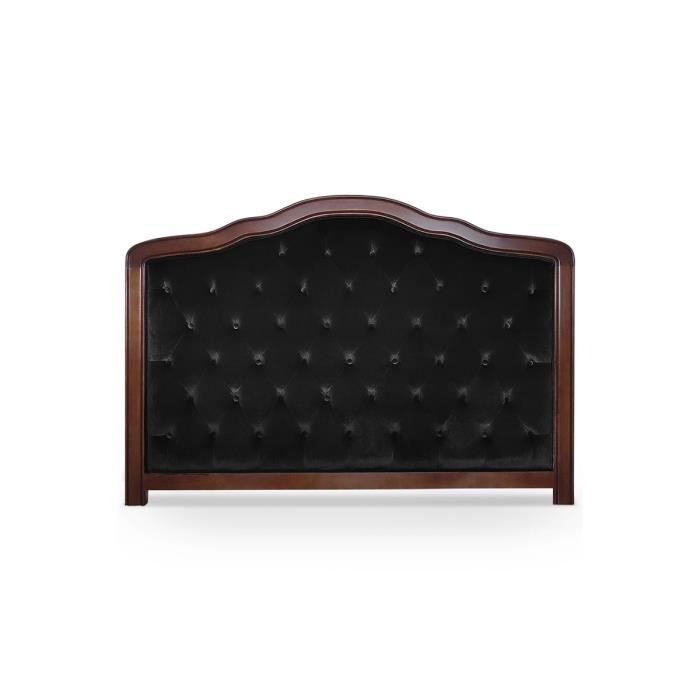 t te de lit capitonn e 180 cm velours noir alexy achat vente t te de lit cdiscount. Black Bedroom Furniture Sets. Home Design Ideas