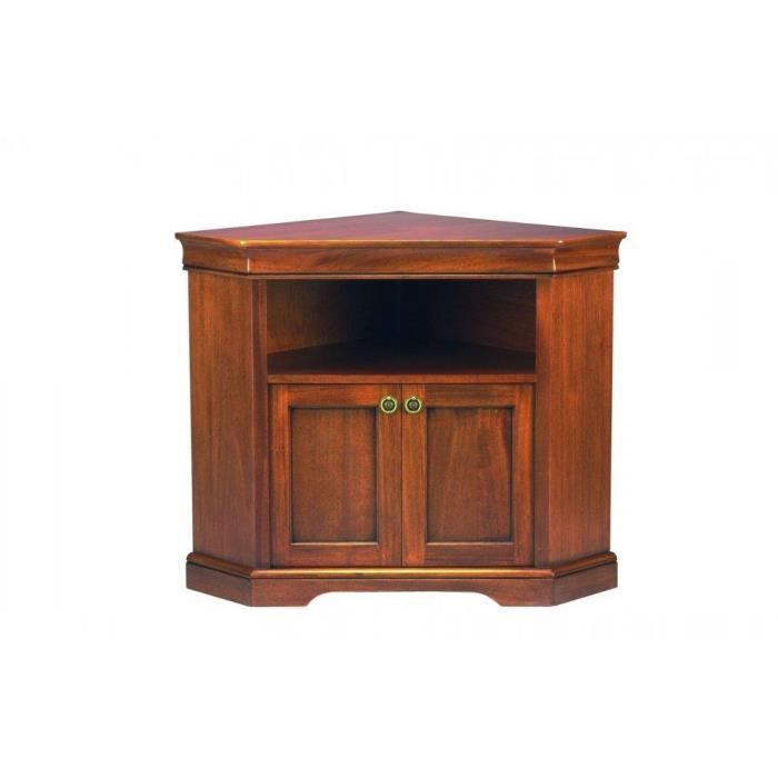 meuble tv d 39 angle balzac 2 portes et une niche de style louis philippe achat vente meuble tv. Black Bedroom Furniture Sets. Home Design Ideas