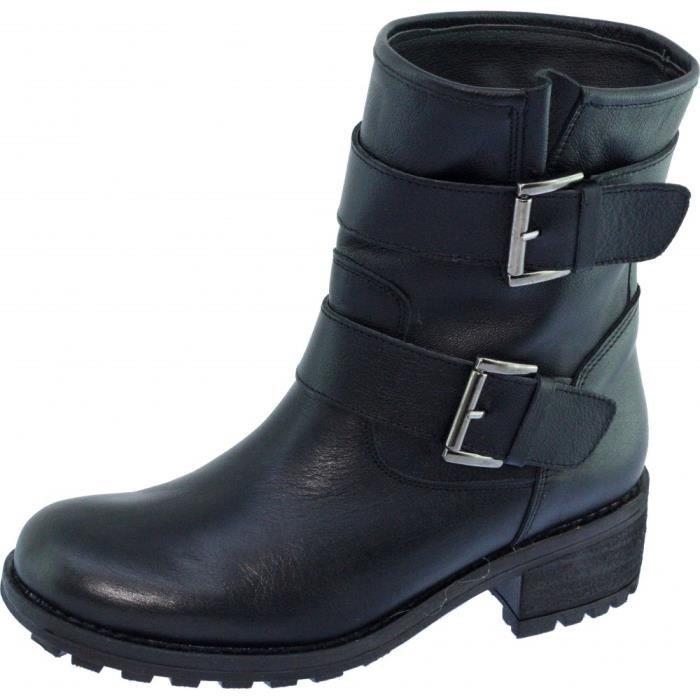 chaussures fabriquée Espagne bottines Angelina marque noir à esprit FLORIDE Boots Femme cuir boucles ceintures moto Motardes WEH2IYD9