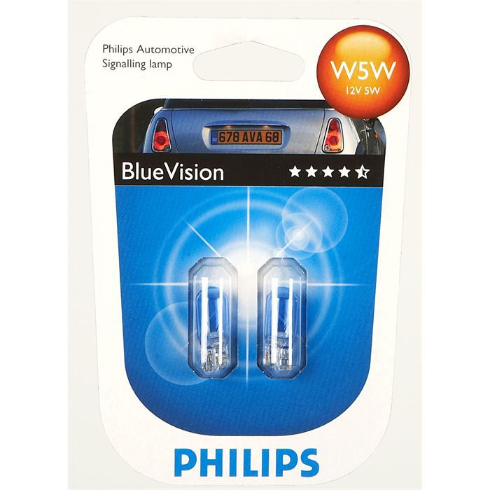 ampoules philips bluevision ultra w5w 12v achat vente phares optiques philips bluevision. Black Bedroom Furniture Sets. Home Design Ideas