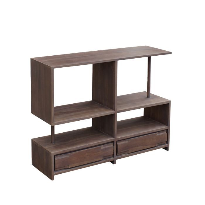 petit meuble tv hifi orlando teck massif 2 tiro achat vente meuble tv petit meuble tv hifi. Black Bedroom Furniture Sets. Home Design Ideas