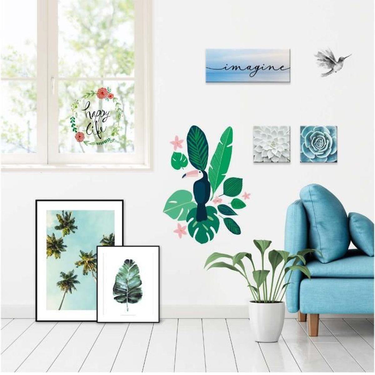 Deco Jungle Chambre Adulte sticker mural jungle toucan 50x70cm