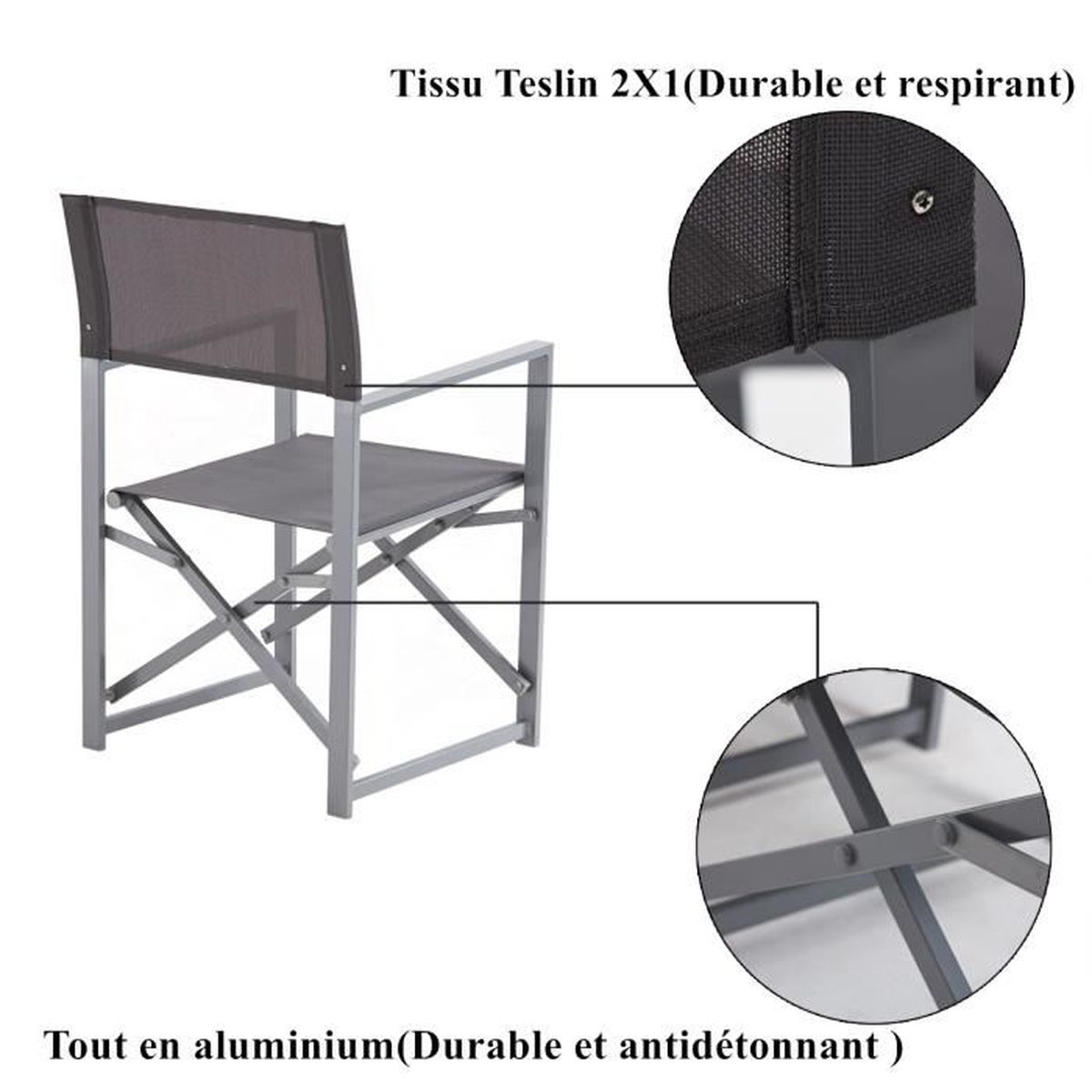 Table de Jardin extensible (de 217 cm à 276 cm) + 10 ...