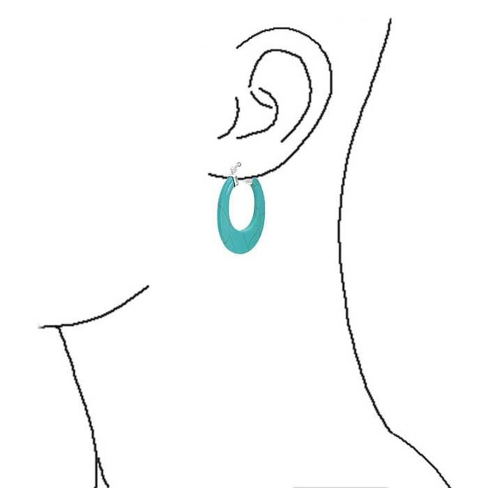 925 Argent Sterling Turquoise Ovale Gemmifères Hoop Boucles