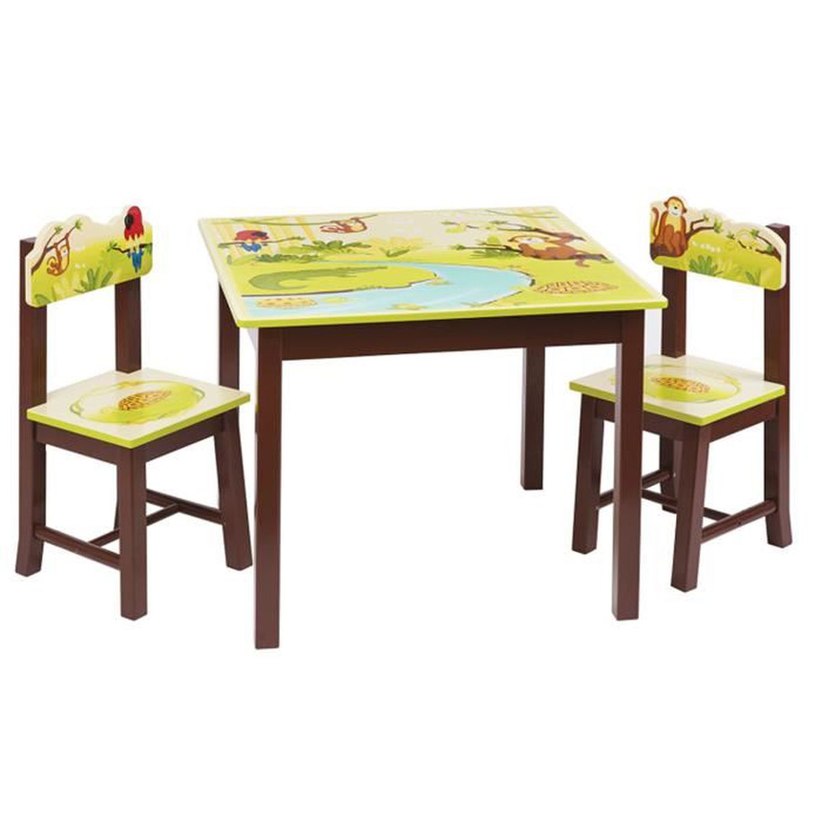 ensemble table et 2 chaises pour enfant en bois brun motif animaux safari achat vente table. Black Bedroom Furniture Sets. Home Design Ideas