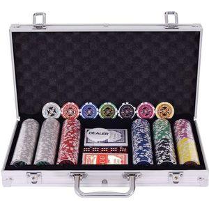 MALETTE POKER Malette Poker Set de Poker 300 Jetons Laser Profes