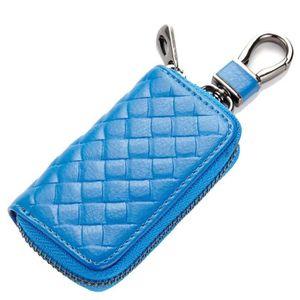 Etui Porte Cl/é en Cuir avec 6 Cl/és Crochets 1 Porte-Cl/és et 2 Esp/èces et Cartes Fentes Bleu