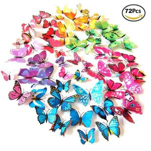 STICKERS IVENCASE 72pcs 3D Papillon Stickers Muraux Décors