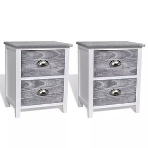 CHEVET Table de chevet 2 pcs avec 2 tiroirs Meuble Table