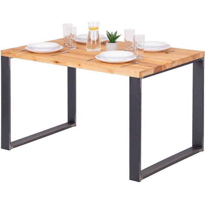 LAMO MANUFAKTUR Table à manger industrielle en bois massif - 120x80x76cm - frêne naturel - pieds acier brut - modèle modern