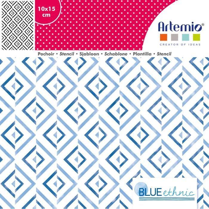 Pochoir 10x15 cm Blue Ethnic Fond - Artémio {couleur}