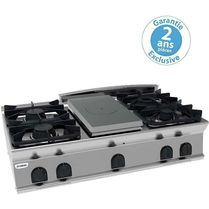 Plaque de cuisson - top 4 feux vifs gaz et 1/2 plaque coup de feu - gamme 700 - module 400 - Tecnoinox 700