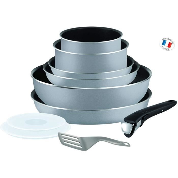 Tefal INGENIO ESSENTIAL Scottish Batterie de Cuisine 10 Pièces Poêles 20/22/26 cm + Casseroles 16/18 cm + Wok 26 cm + Couvercles her