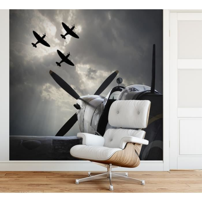 Papier peint finition satiné pré-encollé -Avion de combat vintage- L, 274 x H, 270 cm