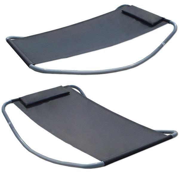 Transats à Bascule XXL - lit pour se bronzer et balancer - gris - grande ca. 200x130x32 cm - robuste structure métallique - desig...