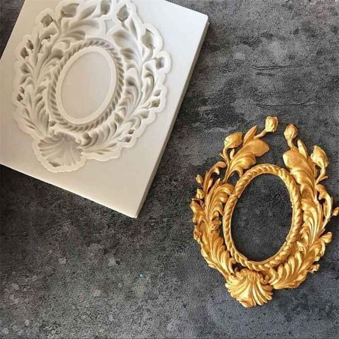 YM Moule Vintage en Silicone Avec Cadre Photo en Dentelle et Résine pour Décoration de Gâteaux, Décoration de ...... - YMSWM824A1104