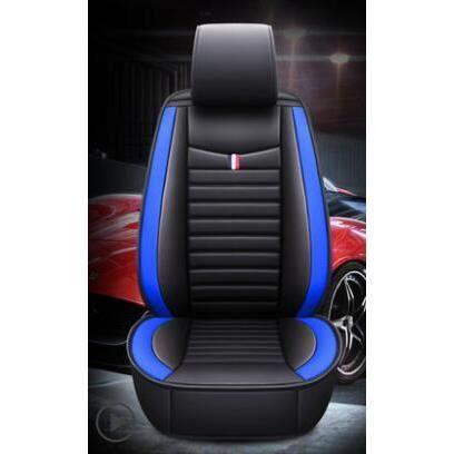 Housses de siège universelles en cuir pu, non mobiles, couvre siège de voiture, couvre siège pour véhi BlackBlue front
