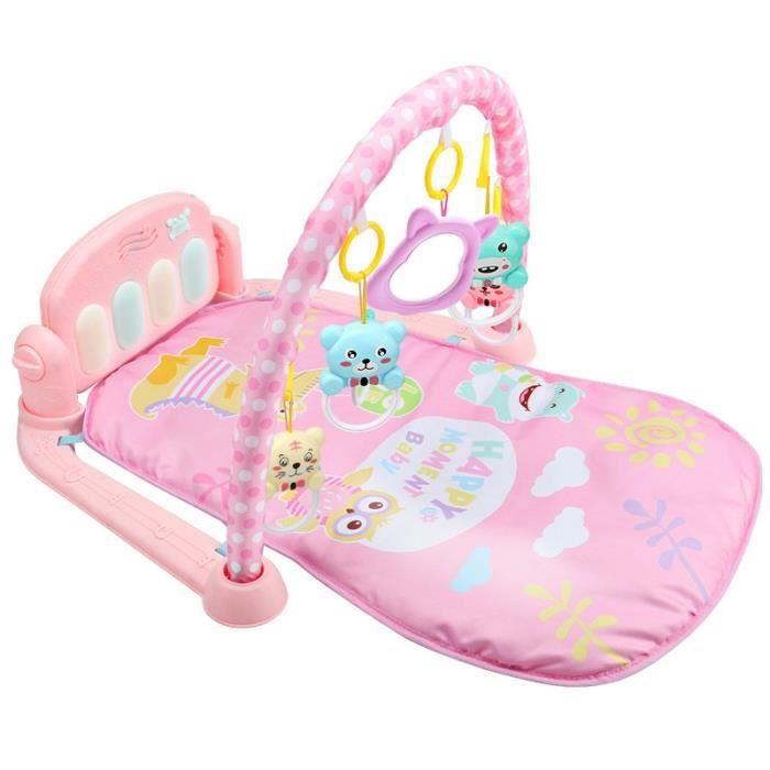 Tapis d'éveil,QWZ 3 en 1 bébé tapis de jeu bébé jouets de gymnastique éclairage doux hochets jouets musicaux pour bébés - Type Rose