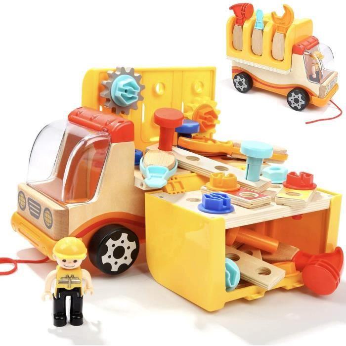 VEHICULE A CONSTRUIRE ENGIN TERRESTRE A CONSTRUIRENene Toys - Camion en Bois et Outils - Jouet &Eacuteducatif pour Fille et G308