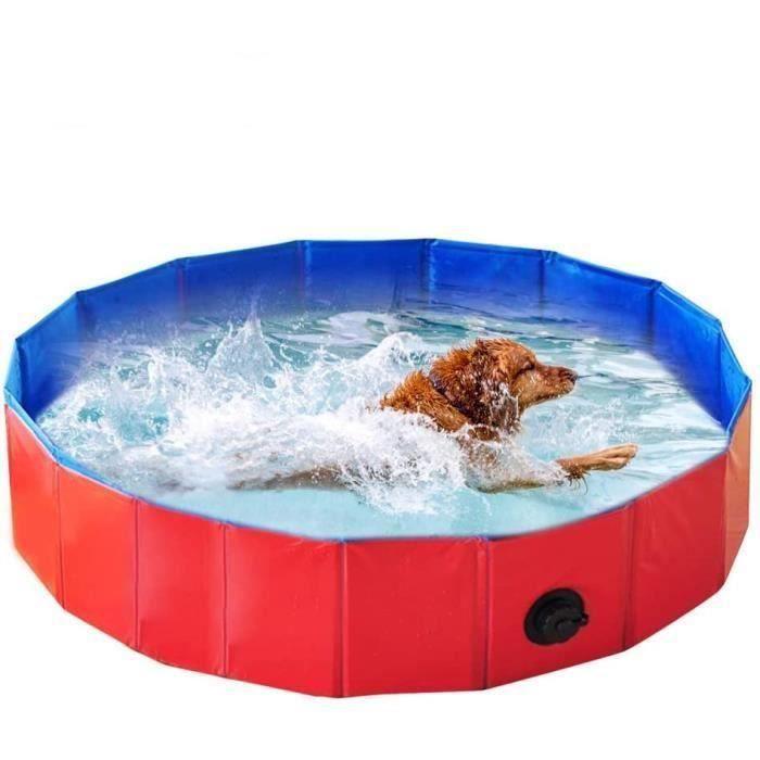 Piscine pour Chien Pliable PVC Baignoire Bassin de Baignade Bain pour Chat Animal Extérieur ou Intérieur (XL 120 * 30CM, Rouge)