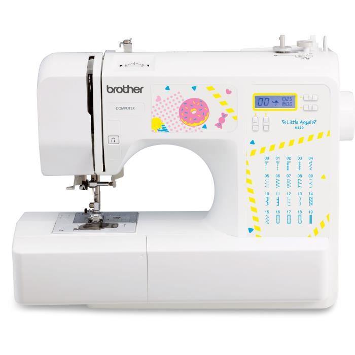 BROTHER KE20 – Machine à coudre électronique pour jeunes créatifs– 20 points de couture – Protège-doigts – Système d'enfile-aiguil