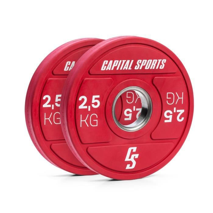 Capital Sports Nipton 2021 - disques de poids - bumper plate - 2 x 2,5 kg - caoutchouc dur - rouge