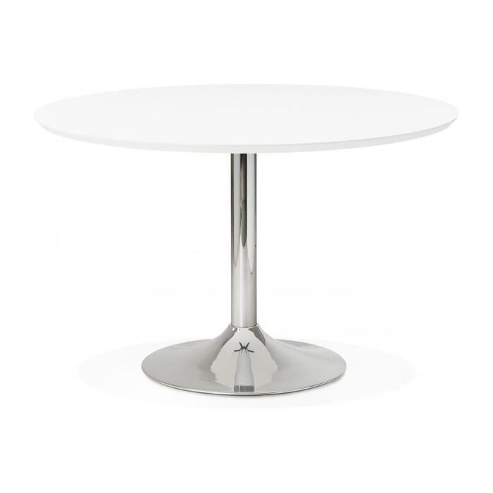 table à manger ronde blanche pied métal d120 barnet declikdeco