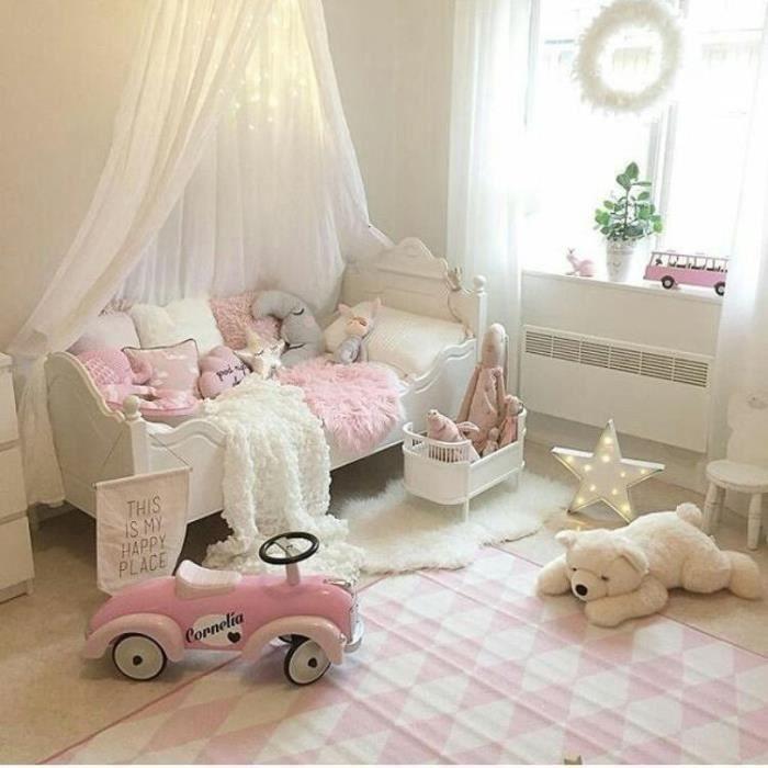 Ciel de lit pour enfants Baldaquin Rideaux De Lit Tente de Jeu Intérieur Décoration Chambre Princesse Moustiquaire Blanc