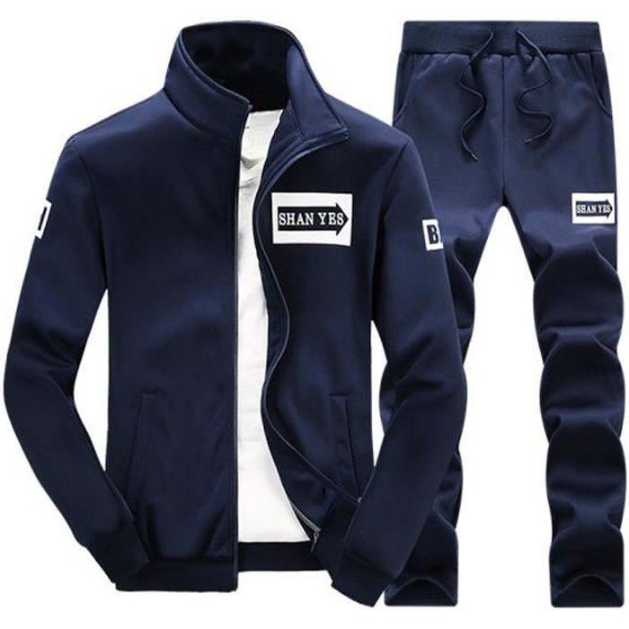 Survêtement Homme 2 Pièces Ensemble à Manches Longues Zippé Garçon Jogging Sport Décontracté Veste+Pantalon Bleu Foncé hooded/hoodie