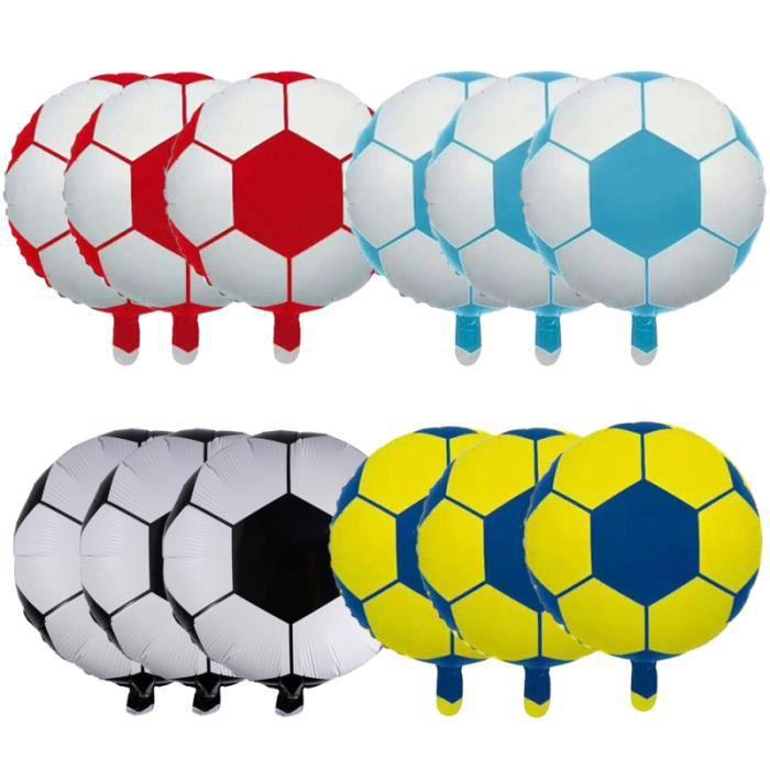 12pcs 18 pouces ballon de football en aluminium de de en de métallique décoration mylar (noir blanc, bleu, BALLON DE FOOTBALL