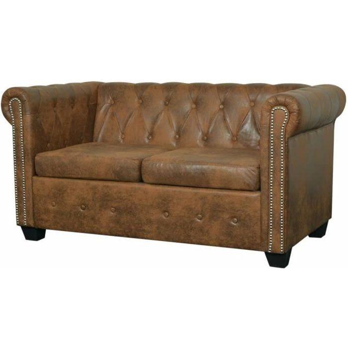 Canapé Chesterfield 2 places Cuir artificiel Marron Canapé d'angle145,5 x 76 x 70 cm Contemporain Sofa salon Confortable Canapé de