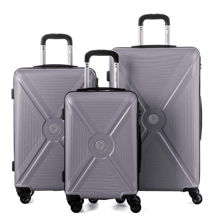 Set de 3 valises : 1 bagage cabine 55 cm et 2 bagages grandes tailles 65 et 75 cm , PC13550-3SLV Argent