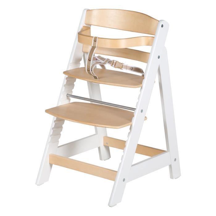 ROBA Chaise haute évolutive -Sit Up III-, qui grandit avec l'enfant jusqu'à chaise jeune, bois naturel-blanc