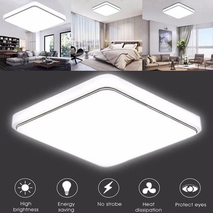 12W LED Plafonnier Moderne Blanc Super Lumineux Carré Lampe pour Salon Salle De Bains Chambre À Coucher Lumière blanc - Argenté