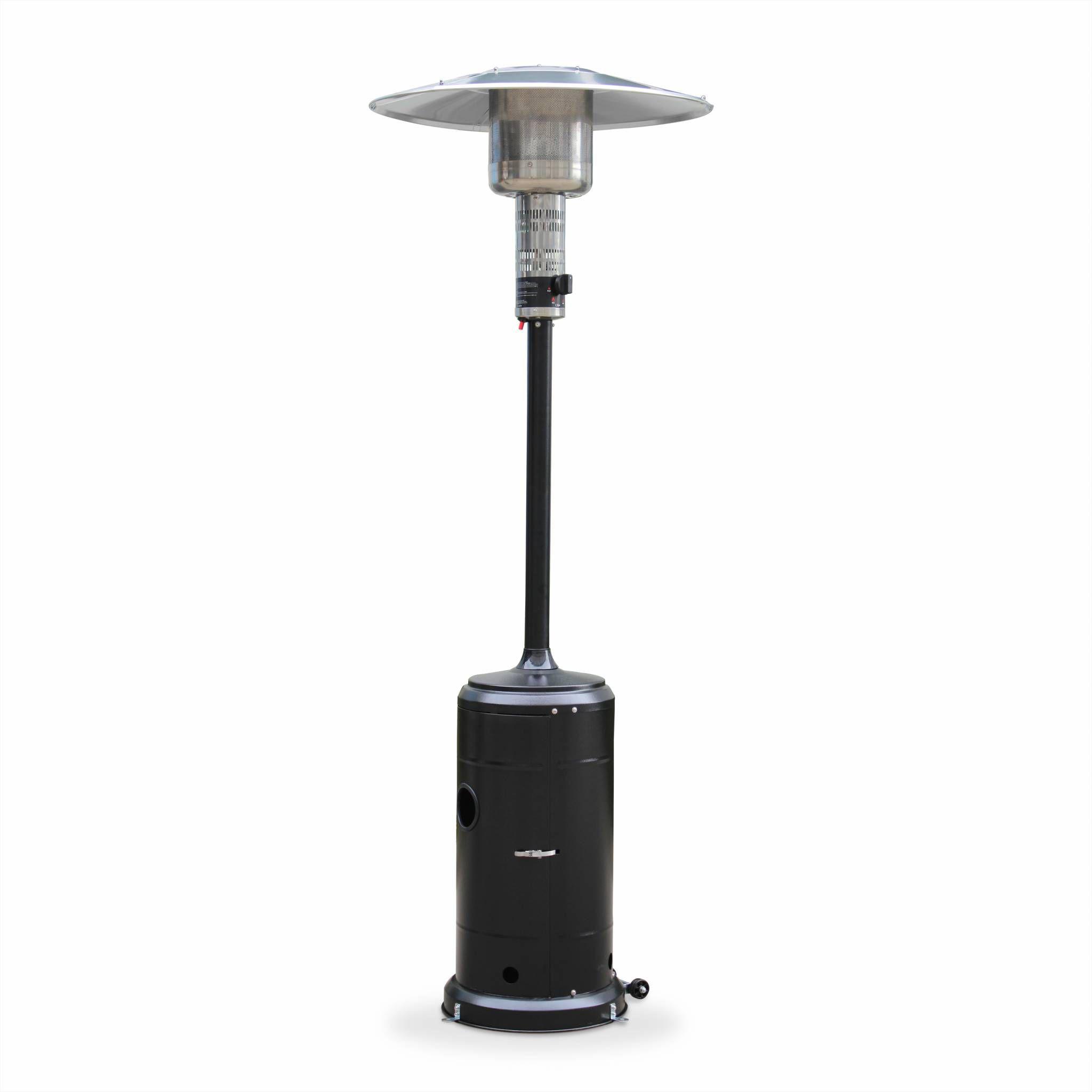 Support mobile r/églable /à roulettes en acier inoxydable pour bouteille de gaz ou petit r/éfrig/érateur Noir