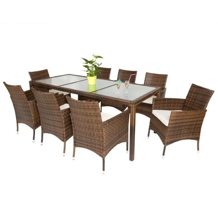 Palawan - Table de jardin rectangulaire 8 chaises - Marron ...