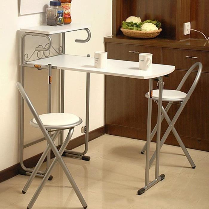 3pcs Table De Salle A Manger Maison Pliante Chaises Ensemble De Salle A Cuisine Avec Etagere De Rangement Achat Vente Chaise Blanc Cdiscount