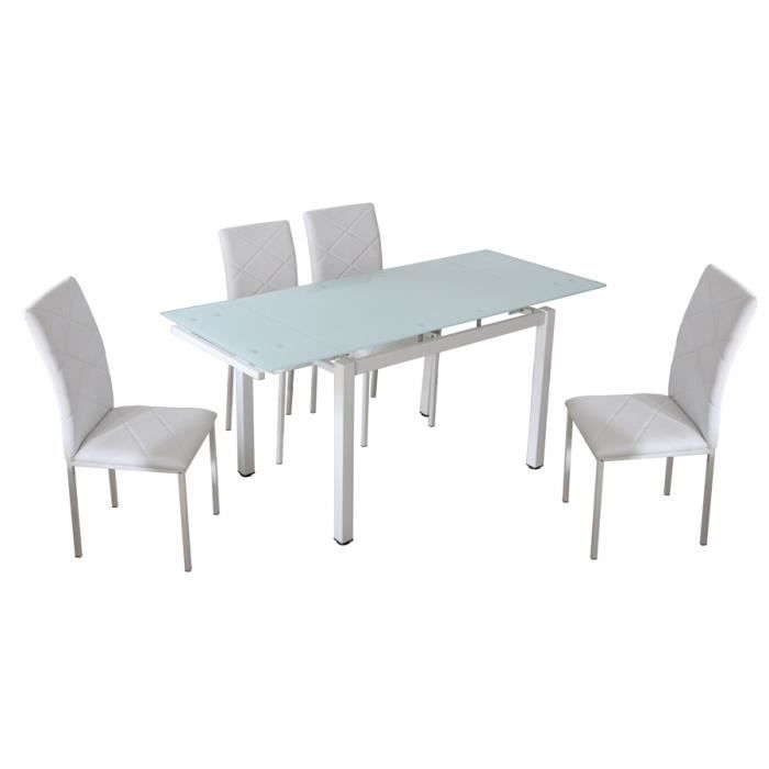 table a manger extensible 4 chaises blanche gisb achat. Black Bedroom Furniture Sets. Home Design Ideas