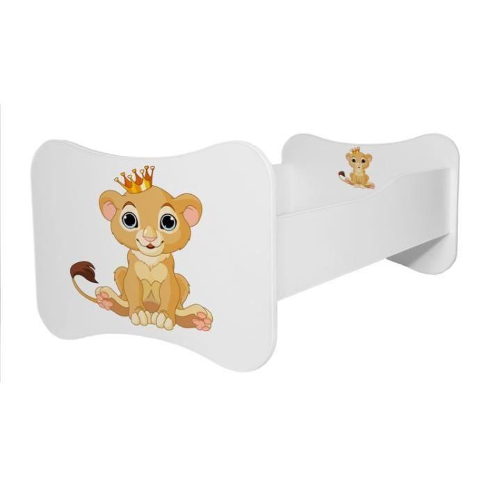 """LIT COMPLET Lit enfant """"lion avec couronne"""" 140x70cm+sommier+m"""