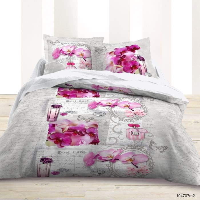 housse de couette 220x240 parfum orchid e fuschia 100 coton 2 taies d 39 oreillers achat. Black Bedroom Furniture Sets. Home Design Ideas
