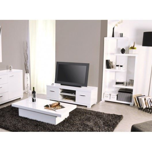 Ensemble meuble tv et table basse tremelo blanc achat for Meuble tv et table basse