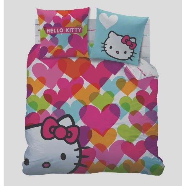 hello kitty housse de couette 240 x 220 cm achat vente housse de couette cdiscount. Black Bedroom Furniture Sets. Home Design Ideas