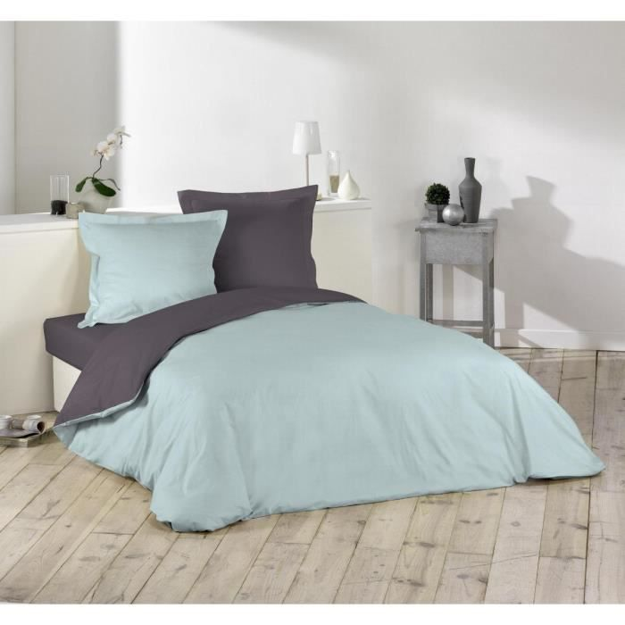 housse de couette bicolore 220x240 cm aqua gris achat. Black Bedroom Furniture Sets. Home Design Ideas