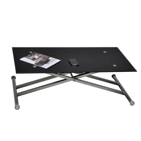 table basse relevable up and down verre noir achat. Black Bedroom Furniture Sets. Home Design Ideas