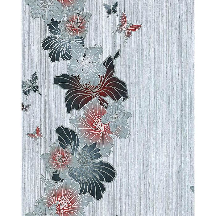 papier peint design motif floral fleurs et papillons edem 108 36 blanc gris vieux rose. Black Bedroom Furniture Sets. Home Design Ideas